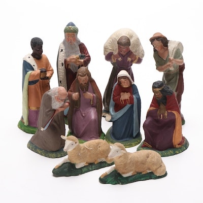 Hand Painted Nativity Set Chalkware Composite