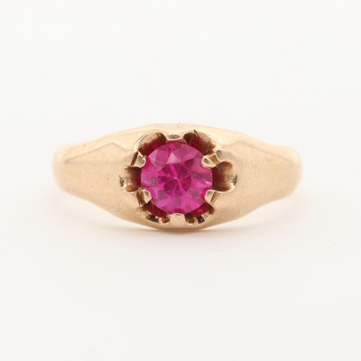 Vintage 14K Yellow Gold Synthetic Ruby Ring