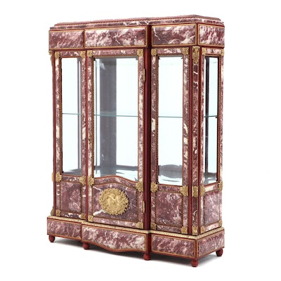 Louis XV-XVI Transitional Brass, Cherry and Marble Curio Cabinet, Contemporary