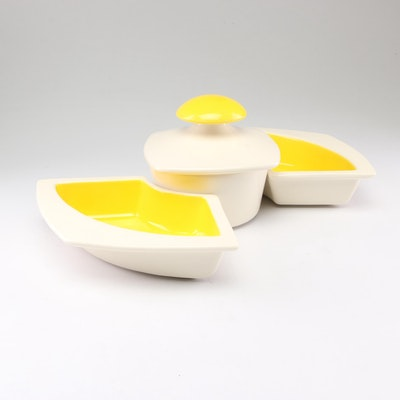 Haeger Ceramic Condiment Bowl and Trays, Mid to Late 20th Century