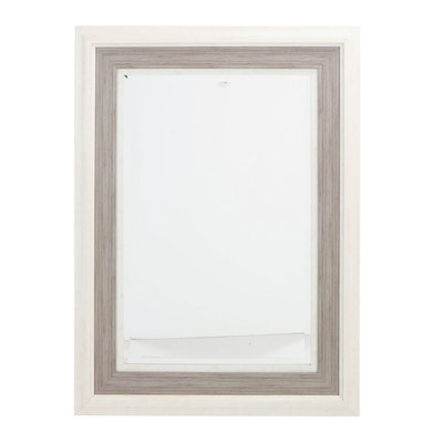 Contemporary Cream and Grey-Painted Overmantel Mirror