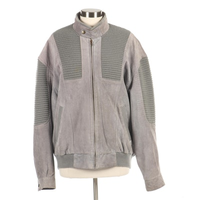 Men's Canda Gray Suede and Knit Bomber Jacket, Vintage