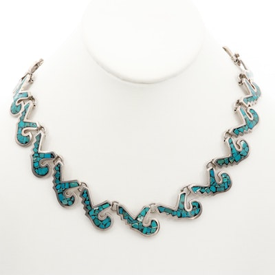 Taxco Sterling Silver Chipped Turquoise Necklace