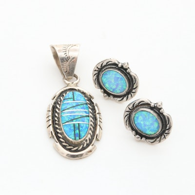 Southwestern Style Synthetic Opal and Black Resin Pendant and Earring Set