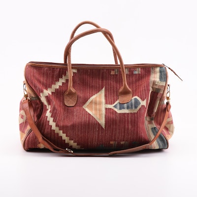 Woven Canvas and Leather Convertible Duffel Bag