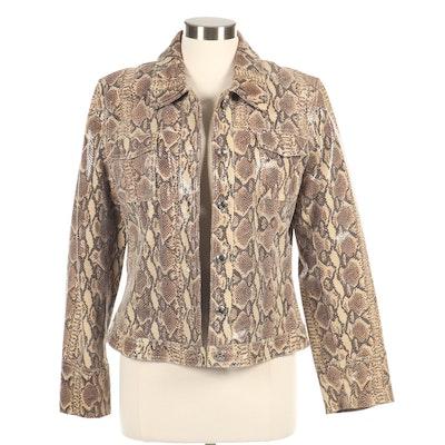 Elements by Vakko Python Print Leather Jacket