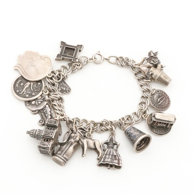 Sterling Silver Charm Bracelet Featuring Animals,Cannon and U.S Capital Stanhope
