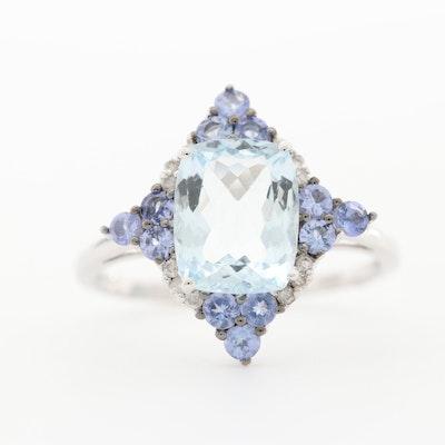 10K White Gold Aquamarine, Tanzanite, and Diamond Ring