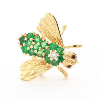 Herbert Rosenthal 18K Yellow Gold Emerald, Diamond and Ruby Bee Brooch