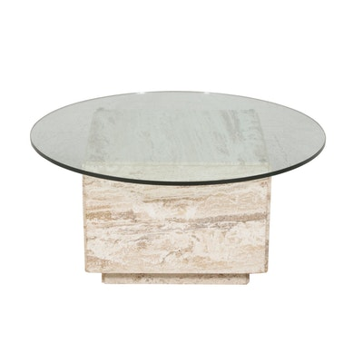 Glass Top Travertine Coffee Table