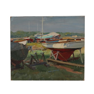 Edmond J. Fitzgerald Oil Painting of Shipyard