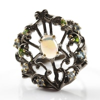 Sterling Silver Opal, Blue Topaz and Peridot Ring