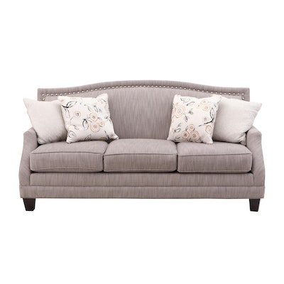 Coil Core Camel Back Sofa with Silver Tack Accents, Contemporary