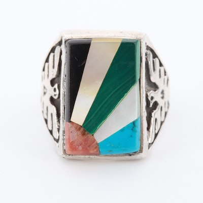 Southwestern Style 800 Silver Malachite, Coral, and Mother of Pearl Ring