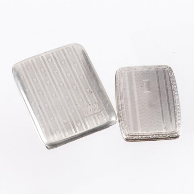Vintage Engraved Silver Plate Cigarette and Calling Card Cases