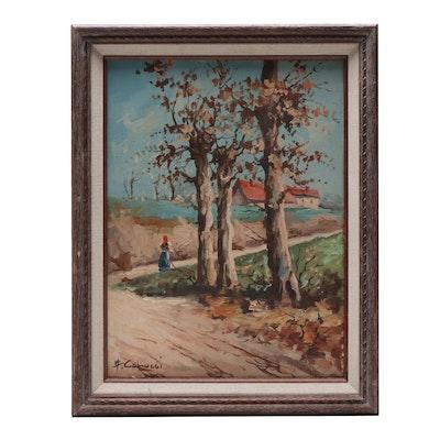 "20th Century Oil Painting ""Italian Countryside"""
