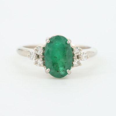 14K White Gold 1.14 CT Emerald and Diamond Ring