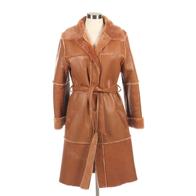 Lili Rose Sheepskin and Shearling Coat with Tie Belt