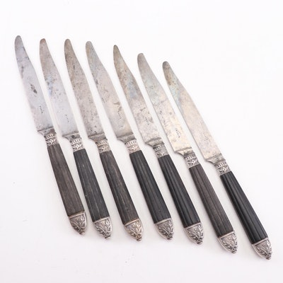 French Ebony and Steel Steak Knives with Silver Plate Caps, Late 19th Century