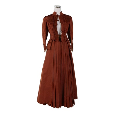 Brown Silk Two-Piece Walking Dress with Foliate Soutache, Late 19th Century