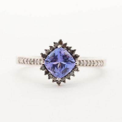 10K White Gold Tanzanite, Black Irradiated Diamond, and Diamond Ring
