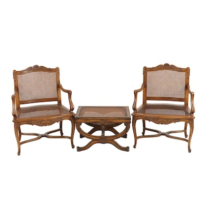 Set of Louis XV Style Carved Wood and Cane Armchairs with Ottoman, Late 20th C.