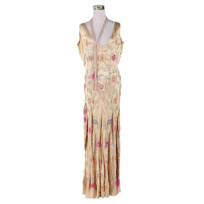 Emmett Joyce Original Color Lined Glass Beaded Satin Evening Gown, 1930s Vintage