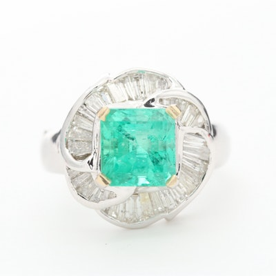 18K White Gold Synthetic Emerald and 1.00 CTW Diamond Ring