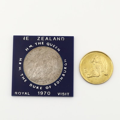 1970 New Zealand Commemorative Dollar Honoring Queen's Visit and Zodiac