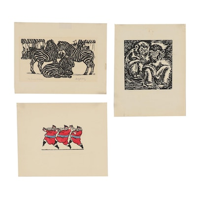 "Stanley Bielecky Woodcuts including ""Monks in a Zoo"""