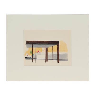 Robert Herrmann Architectural Watercolor Painting