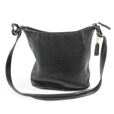 Coach Black Leather Shoulder Bag, 1970s Vintage