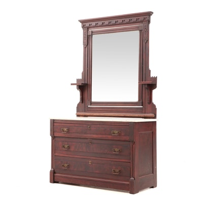 Victorian Mahogany Finish Wood Dresser and Mirror with Marble Top