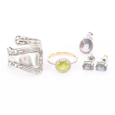 Gold Wash on Sterling Silver and Silver Tone Gemstone Jewelry