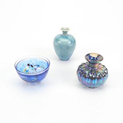 Ceramic and Glass Vases and Kosta Boda Bowl