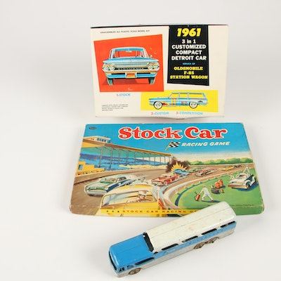 Stock Car Racing Game, Diecast Greyhound Bus and Model Kit Car, Mid-Century