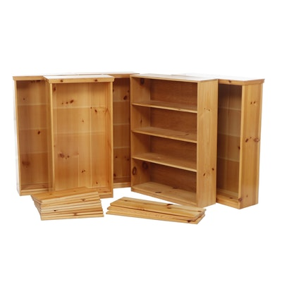 Set of Five Pine Book Cases with Adjustable Shelves, Late 20th Century
