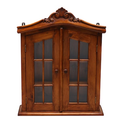 Handcrafted Carved Wood and Glass Wall Cabinet