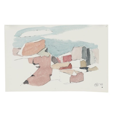 Robert Herrmann 1995 Watercolor Painting of Abstract Landscape