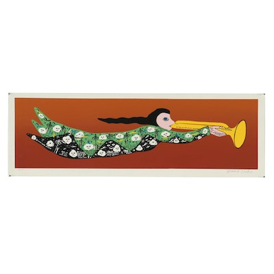 """Howard Finster Serigraph """"At the Sound of His Trumpet"""""""