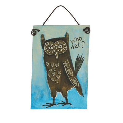 "J. Underwood Folk Art Acrylic Painting ""Owl is Well"""