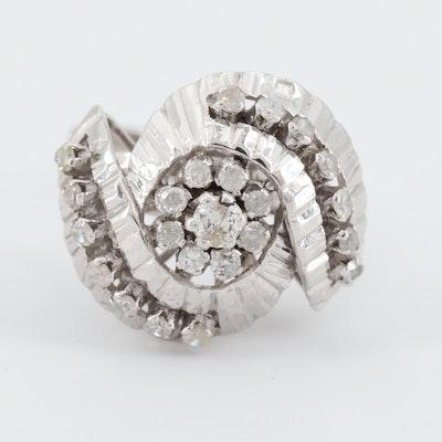14K White Gold Diamond Ballerina Ring