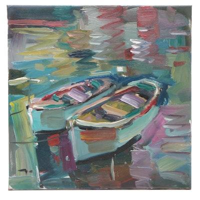 "Jose Trujillo Oil Painting ""Twin Boats"""
