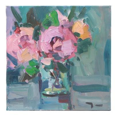 "Jose Trujillo Oil Painting ""Full Blossoms"""