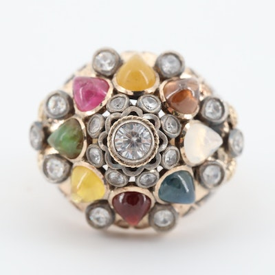 14K Yellow Gold Multi-Gemstone Domed Ring