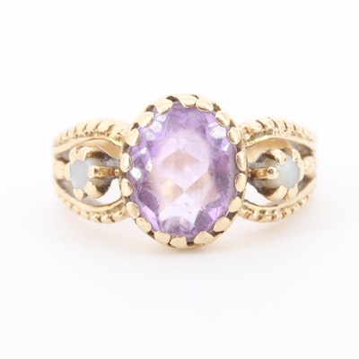 14K Yellow Gold Amethyst and Cultured Pearl Ring