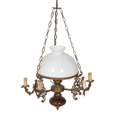 Bronze and Wood Chandelier with White Glass Shade, Mid to Late 20th Century
