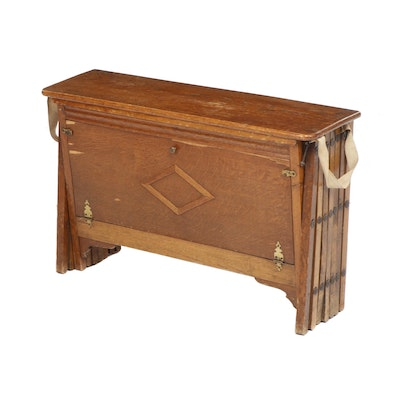 "W&S ""Cabinetta"" WWI British Collapsible Oak and Canvas Army Cot, Circa 1915"