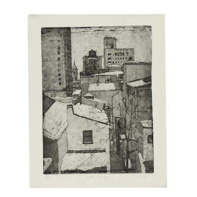 """Marian Saubers Etching with Aquatint  """"Little Canyons"""""""