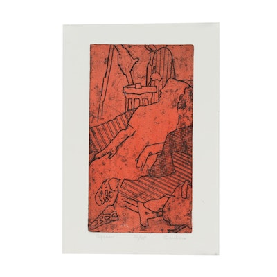 """Marian Saubers Etching with Aquatint """"Spaces"""""""